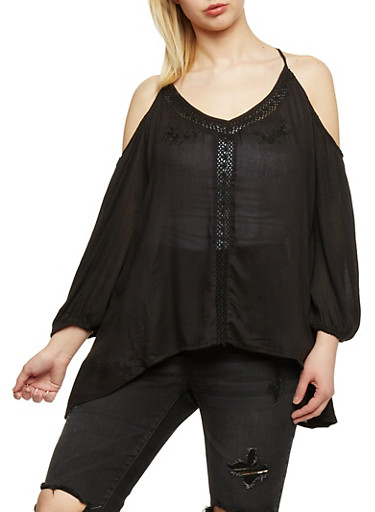 Plus Size Cold Shoulder Crochet Trim Top,BLACK,large