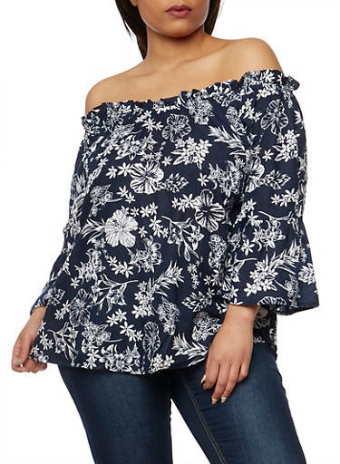 Plus Size Floral Off the Shoulder Bell Sleeve Top,NAVY,large