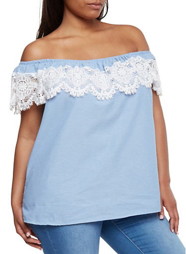 Plus Size Off the Shoulder Chambray Top with Crochet Overlay,BABY BLUE,large