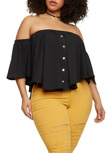 Plus Size Off the Shoulder Button Down Top,BLACK,large