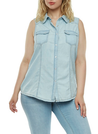 Plus Size Chambray Top with Western Snap Closures,LIGHT WASH,large