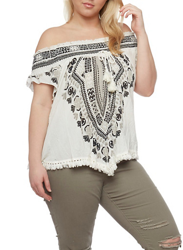 Plus Size Off the Shoulder Tassel Fringe Hem Top with Smocked Neckline,IVORY,large