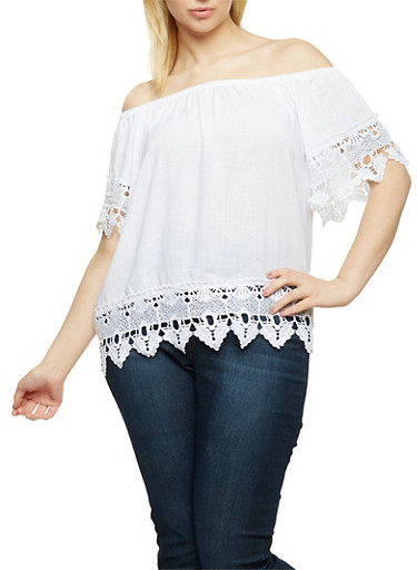 Plus Size Off the Shoulder Top with Crochet Trim,WHITE,large