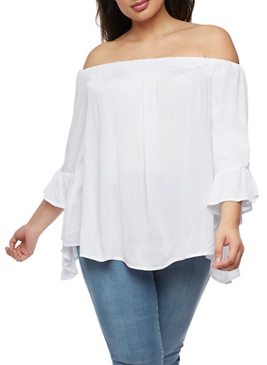 Plus Size Off the Shoulder Top with Bell Sleeves,WHITE,large
