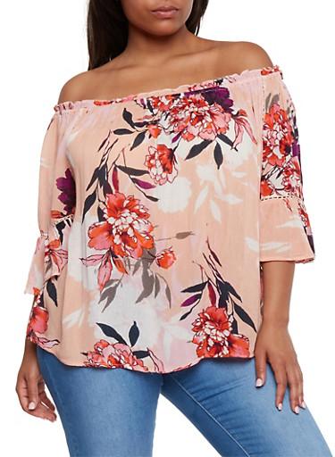 Plus Size Floral Off the Shoulder Peasant Top,BLUSH,large