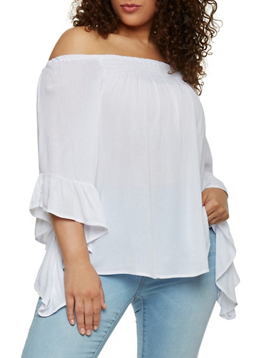 Plus Size Off Shoulder Gauze Knit Top with 3/4 Bell Sleeves,WHITE,large