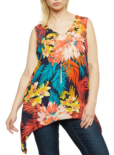 Plus Size Asymmetrical Floral Tank Top with Necklace,NAVY,large