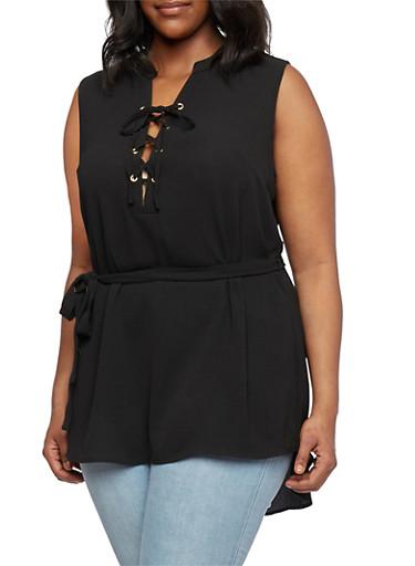 Plus Size Sleeveless Lace-Up Tunic Top with Matching Belt,BLACK,large