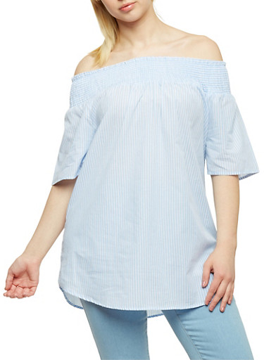 Plus Size Striped Off the Shoulder Peasant Top,BLUE,large