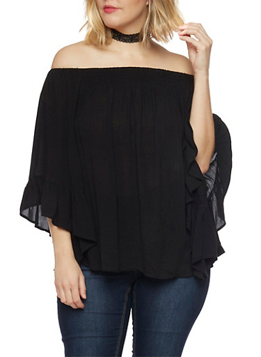 Plus Size Off the Shoulder Top with Flutter Sleeves,BLACK,large