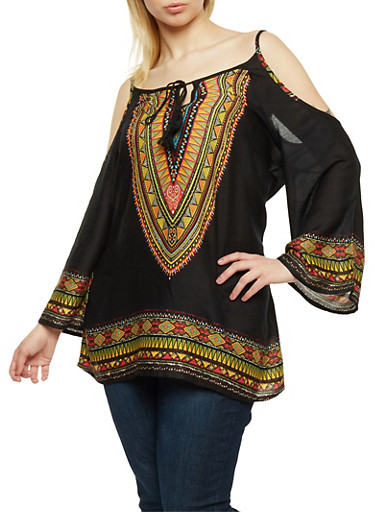 Plus Size Cold Shoulder Dashiki Print Tunic Top,BLACK,large