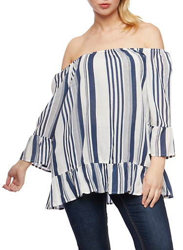 Plus Size Off the Shoulder Striped Peasant Top with Flounce Hem,WHITE/BLUE,large
