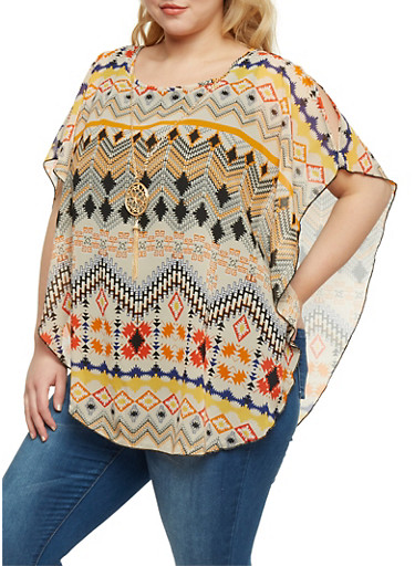 Plus Size Tunic Top with Aztec Print Overlay,NATURAL,large