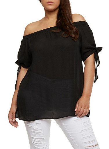 Plus Size Off the Shoulder Tie Sleeve Top,BLACK,large
