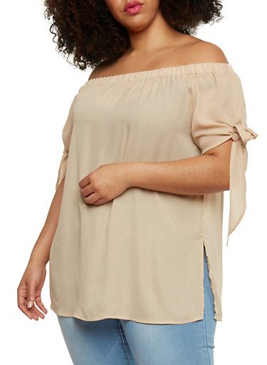 Plus Size Off the Shoulder Tie Sleeve Top,MOCHA,large