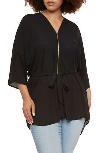Plus Size Tunic Top with Double Zipper,BLACK,large