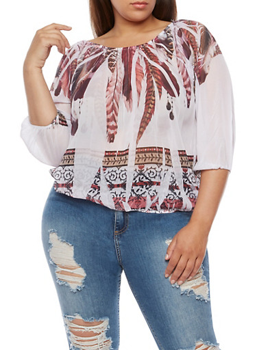 Plus Size Off the Shoulder Feather Print Top,RUST  CAS 2158 MULTI RUST,large