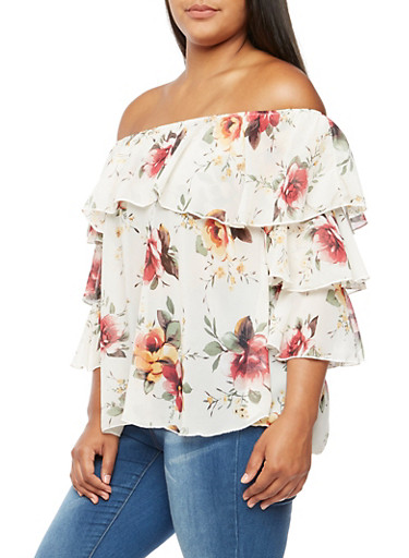 Plus Size Tiered Floral Top,IVORY/MUSTARD,large