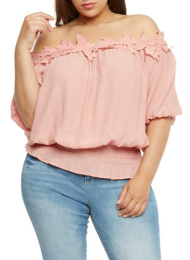 Plus Size Off the Shoulder Gauzy Top with Crochet Trim,PINK,large
