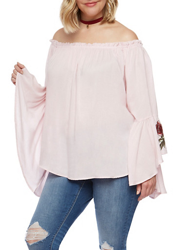 Plus Size Off the Shoulder Top with Ruffled Sleeves,BLUSH,large