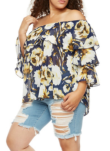 Plus Size Floral Ruffled Off the Shoulder Top,NAVY/MUSTARD,large
