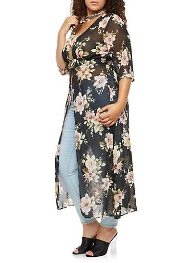 Plus Size Floral Maxi Duster with Button Closure,BLACK  160316,large