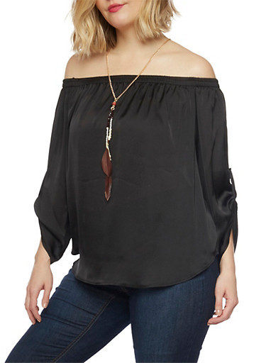 Plus Size Off the Shoulder Top with Tabbed Long Sleeves,BLACK,large