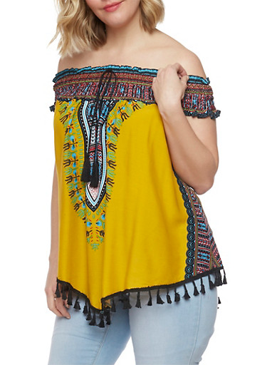 Plus Size Off The Shoulder Dashiki Print Top with Tassel Fringe,MUSTARD,large