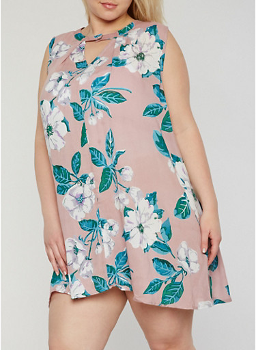Plus Size Sleeveless Floral Keyhole Neck Shift Dress,BLUSH,large