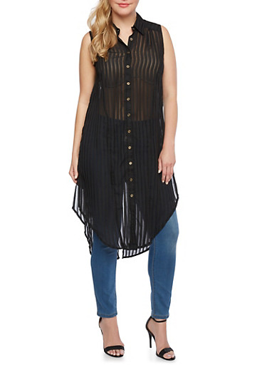 Plus Size Sheer Stripe Top with Button Front,BLACK,large