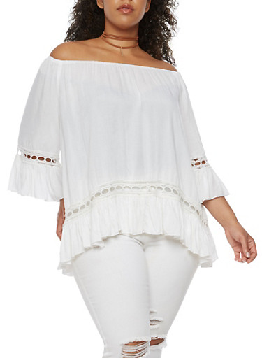 Plus Size Off the Shoulder Peasant Top with Ruffled Sleeves,WHITE,large