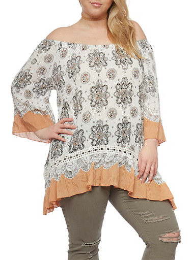 Plus Size Off The Shoulder Printed Top with Flutter Hem,IVORY/PEACH,large