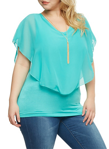 Plus Size Sleeveless V Neck Top with Sheer Overlay,GREEN (SEAFOAM),large