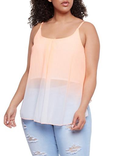 Plus Size Sleeveless Dip Dye Swing Top,ORANGE,large