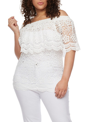 Plus Size Off the Shoulder Crocheted Top with Overlay Detail,IVORY,large