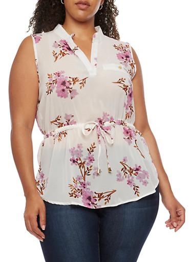 Plus Size Sleeveless Floral Chiffon Shirt,IVORY/PLUM  F786,large