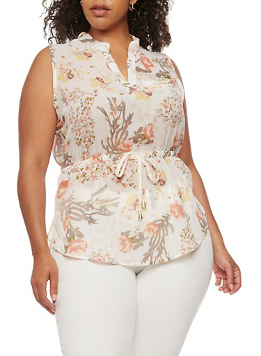 Plus Size Sleeveless Floral Top with Cinched Waist,IVORY  #694,large
