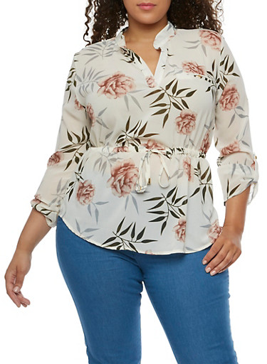 Plus Size Floral Cinched Blouse,IVORY   # 17,large