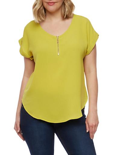 Plus Size Crepe Half Zip Top,GREEN,large
