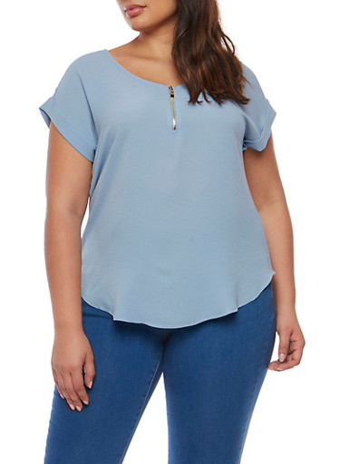 Plus Size Crepe Half Zip Top,CHAMBRAY,large