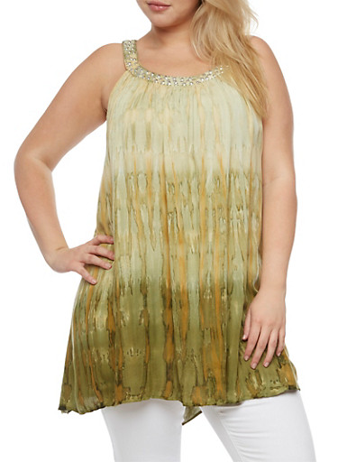 Plus Size Sleeveless Dip Dye Tunic Top,GREEN,large