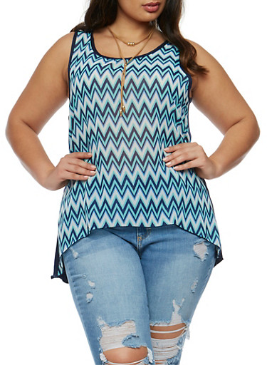 Plus Size Printed Front Tank Top with Choker,NAVY  DU 1003,large