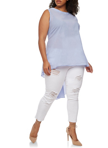 Plus Size Sleeveless Striped High Low Top,BLUE,large