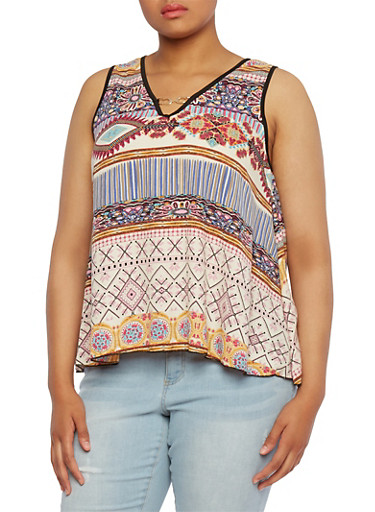 Plus Size Metal Link V-Neck Top with Ornate Print,PINK,large