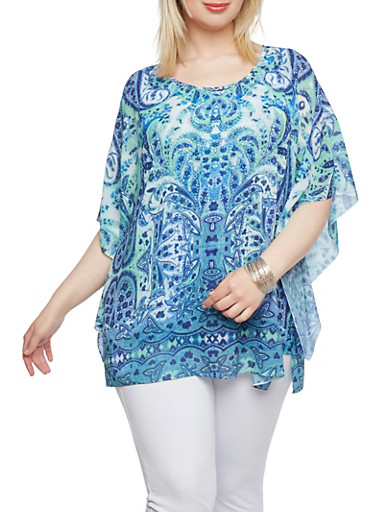 Plus Size Printed Top with Kimono Sleeves,BLUE,large