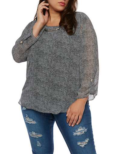 Plus Size Printed Long Sleeve Top with Metallic Neckline Detail,BLACK,large