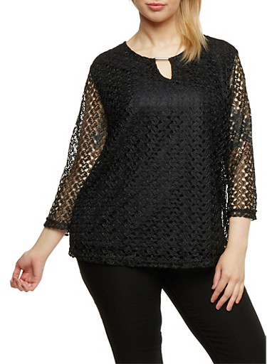 Plus Size Crochet Top with Keyhole Bar,BLACK,large