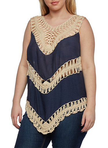 Plus Size Crochet Top with Scoop Neck,NAVY,large