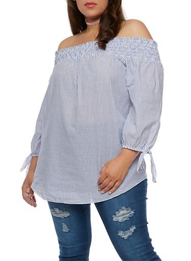 Plus Size Striped Off The Shoulder Peasant Top,BLUE DEN 3496,large