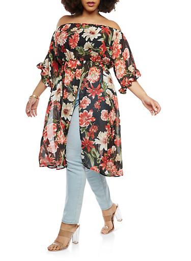Plus Size Floral Chiffon Off the Shoulder Maxi Top,BLACK,large